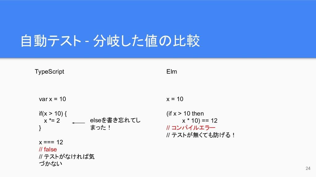 自動テスト - 分岐した値の比較 24 TypeScript Elm var x = 10 i...
