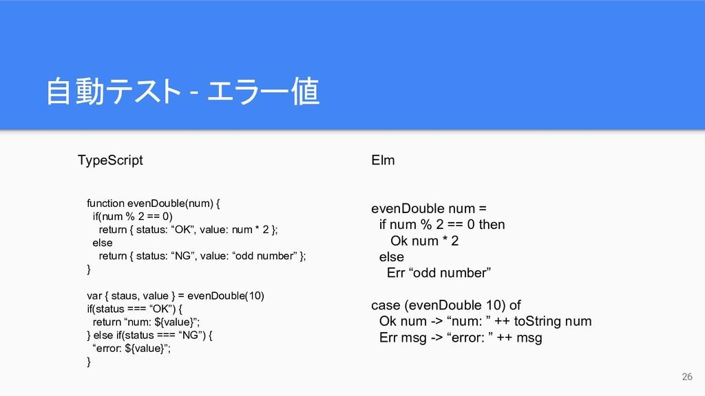 自動テスト - エラー値 26 TypeScript Elm function evenDou...