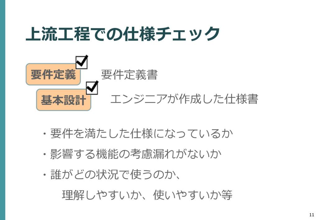 11 要件定義書 上流工程での仕様チェック ・要件を満たした仕様になっているか ・影響する機能...