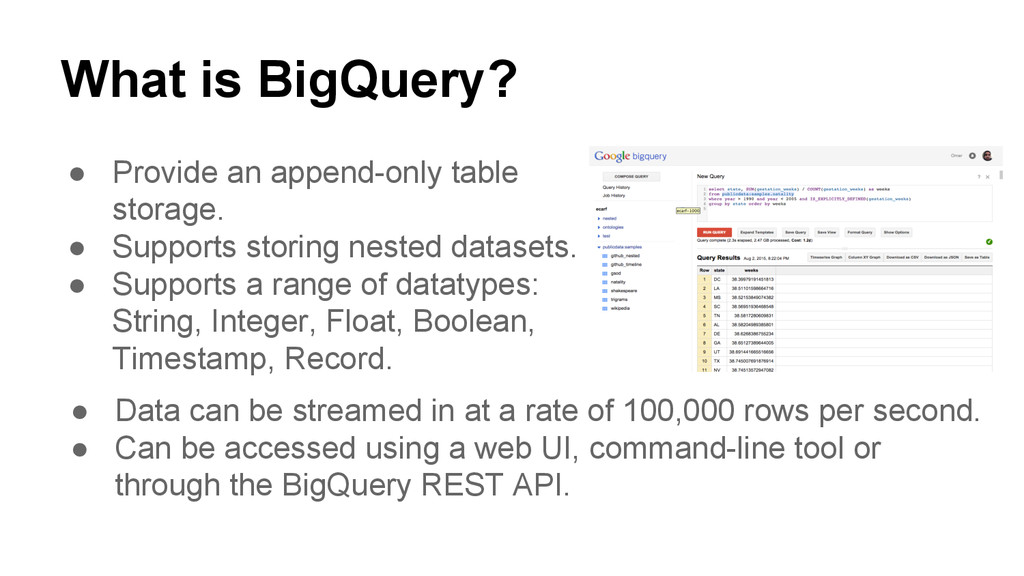 What is BigQuery? ● Provide an append-only tabl...