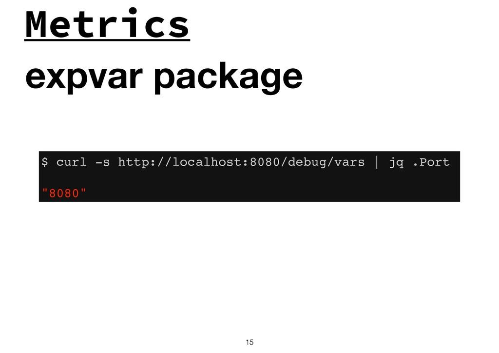 Metrics !15 expvar package $ curl -s http://loc...