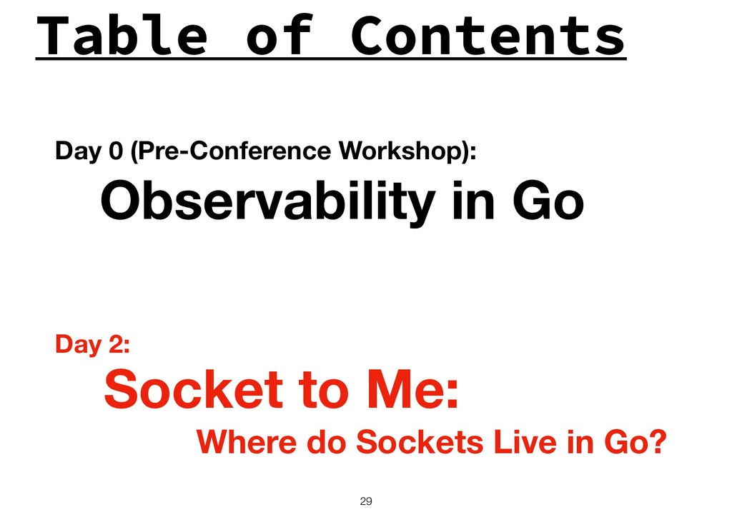 Table of Contents !29 Observability in Go Socke...