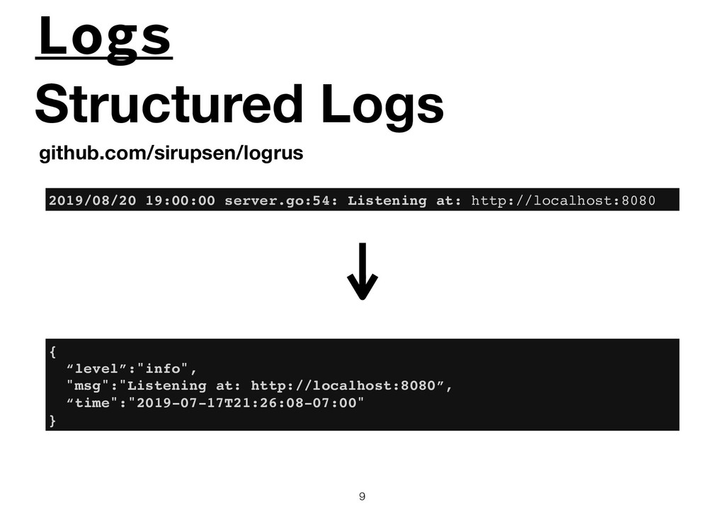 Logs !9 Structured Logs github.com/sirupsen/log...