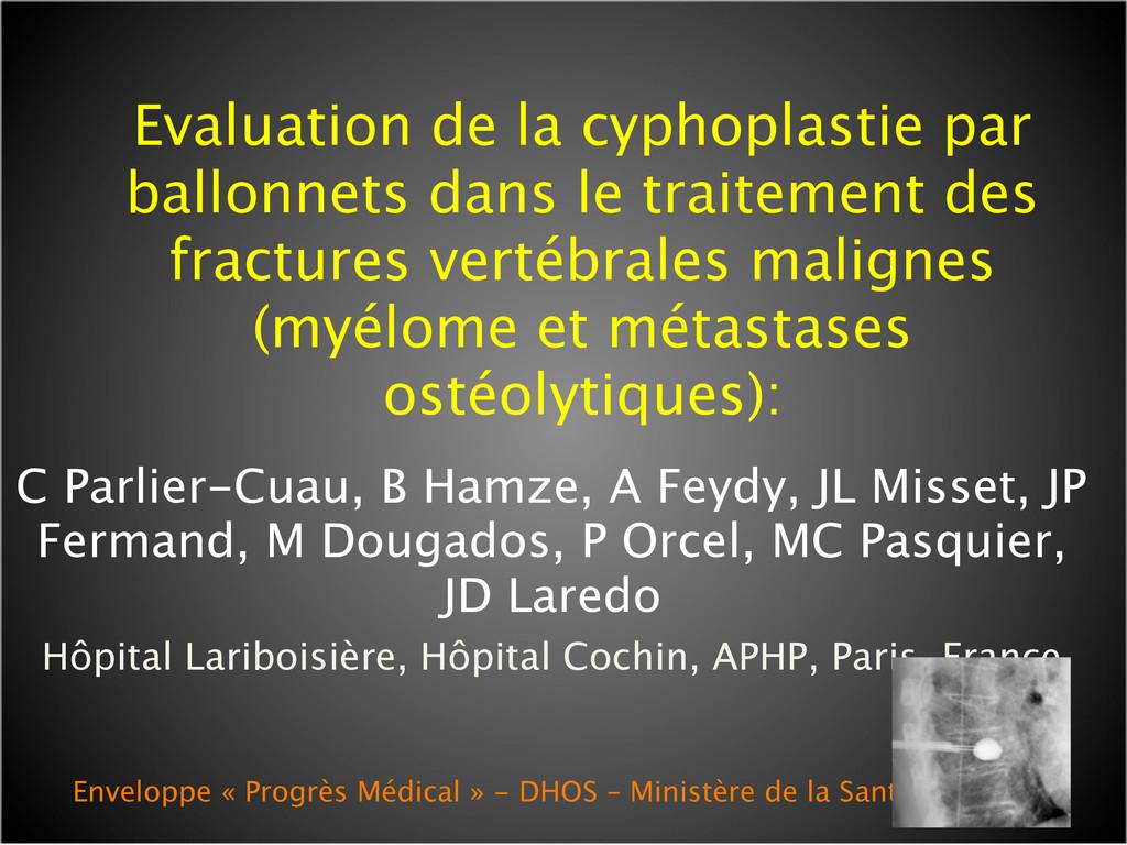 Evaluation de la cyphoplastie par ballonnets da...