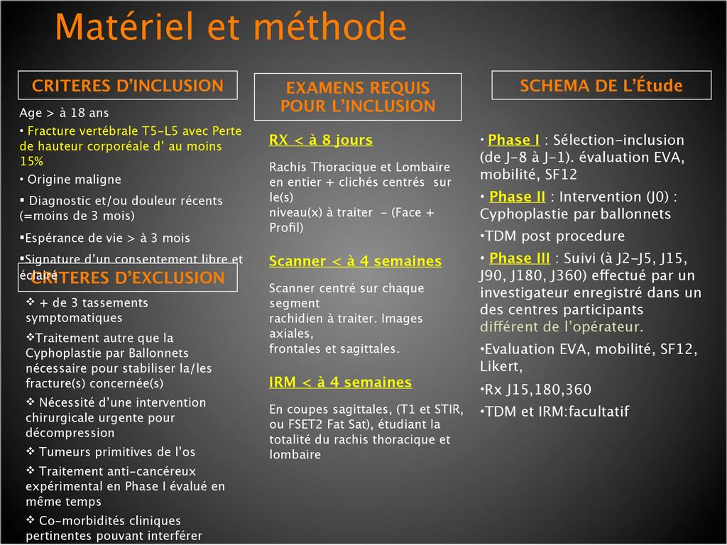 CRITERES D'INCLUSION Matériel et méthode ! + de...