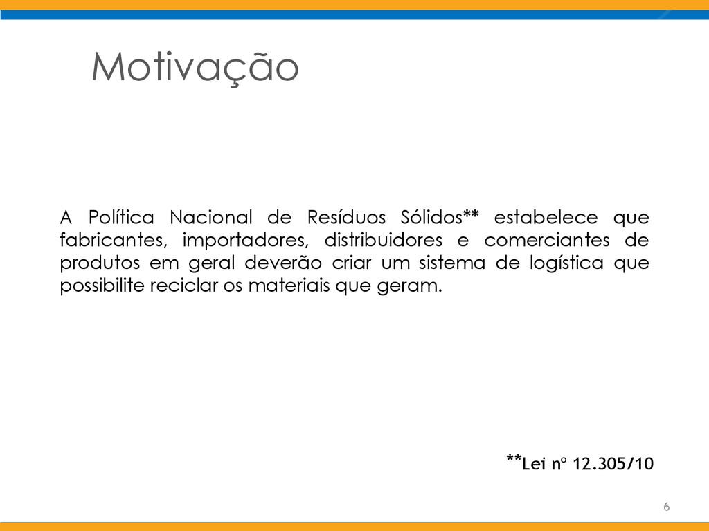 Motivação A Política Nacional de Resíduos Sólid...