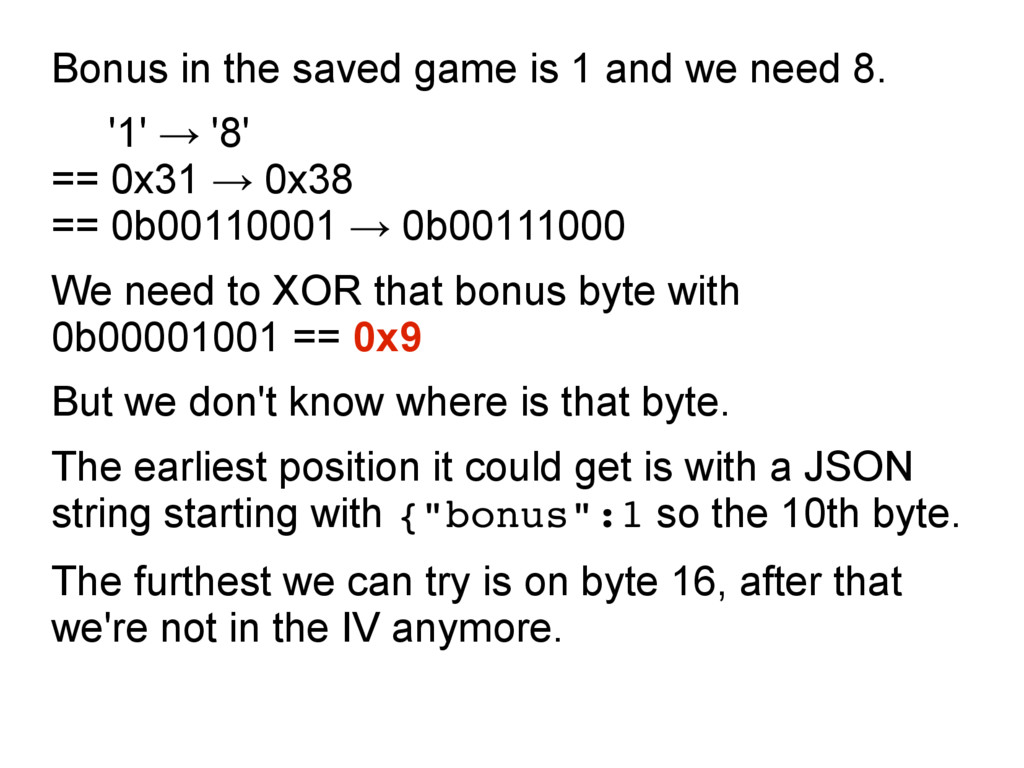 Bonus in the saved game is 1 and we need 8. '1'...