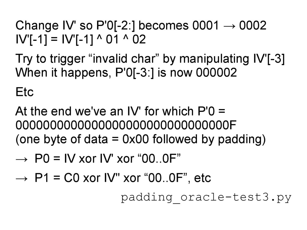 Change IV' so P'0[-2:] becomes 0001 → 0002 IV'[...