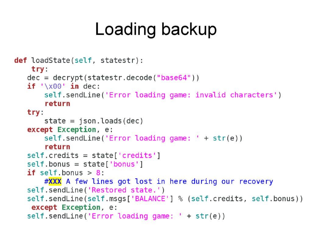 Loading backup