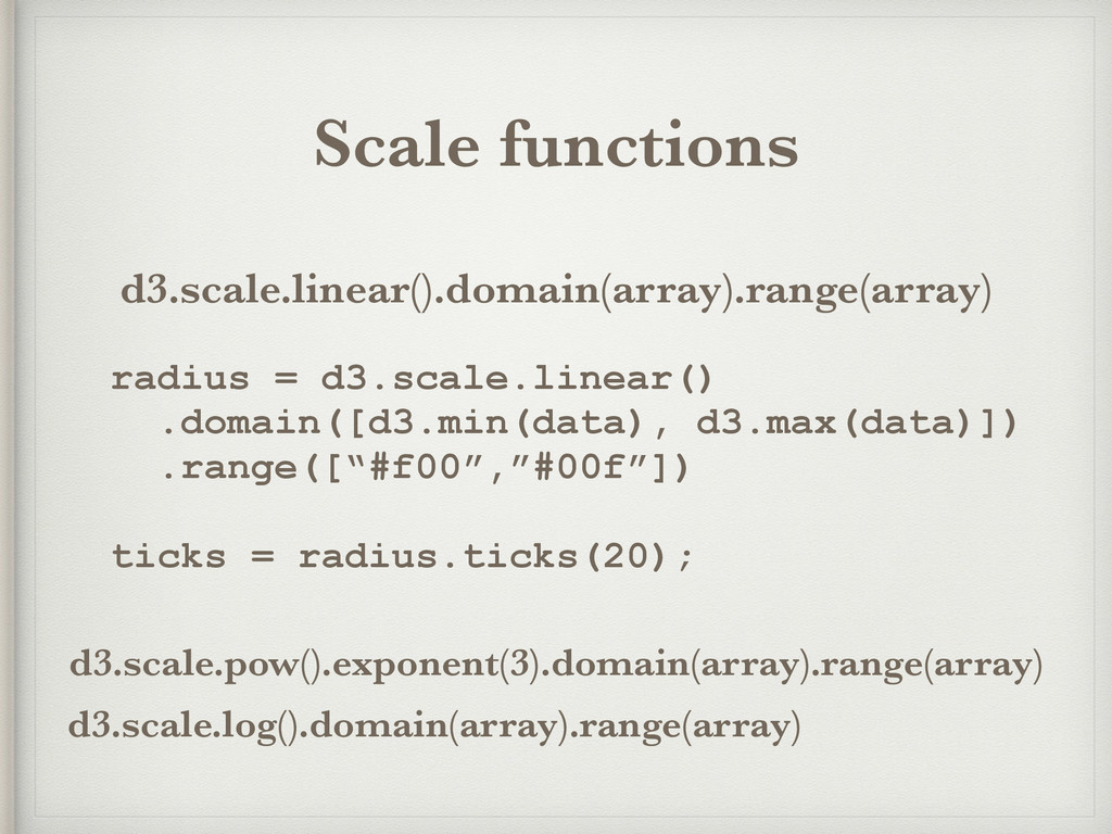 Scale functions d3.scale.linear().domain(array)...