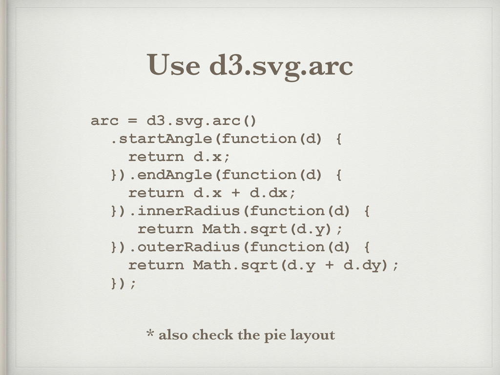 arc = d3.svg.arc() .startAngle(function(d) { re...