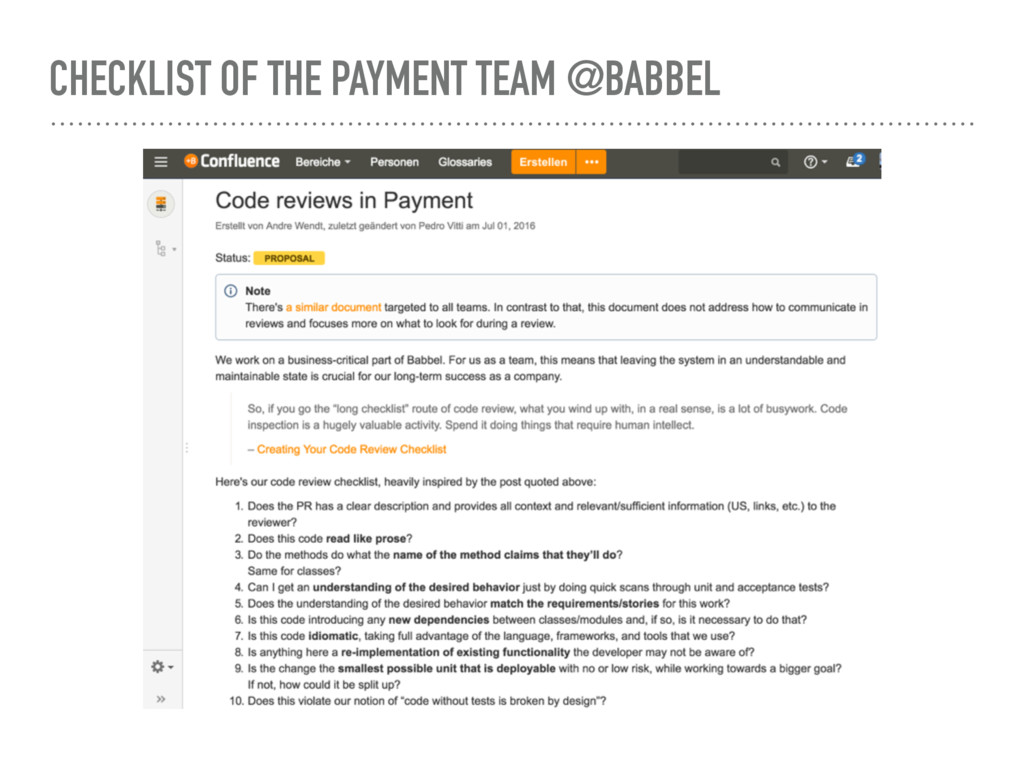 CHECKLIST OF THE PAYMENT TEAM @BABBEL