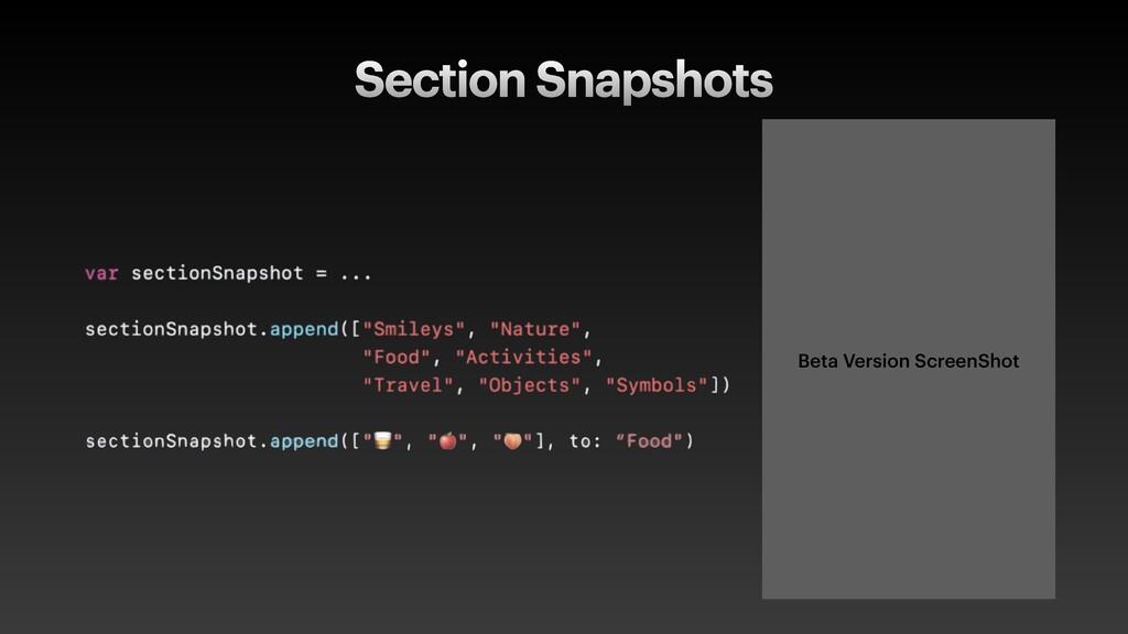 Section Snapshots Beta Version ScreenShot