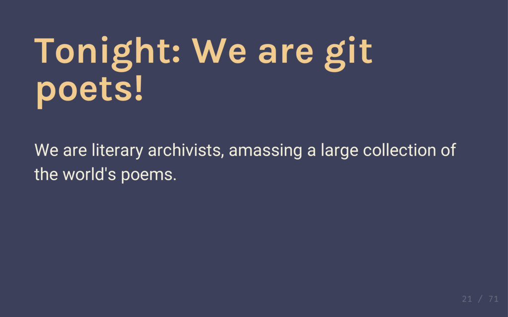 ☁ ☁ Tonight: We are git poets! We are literary ...
