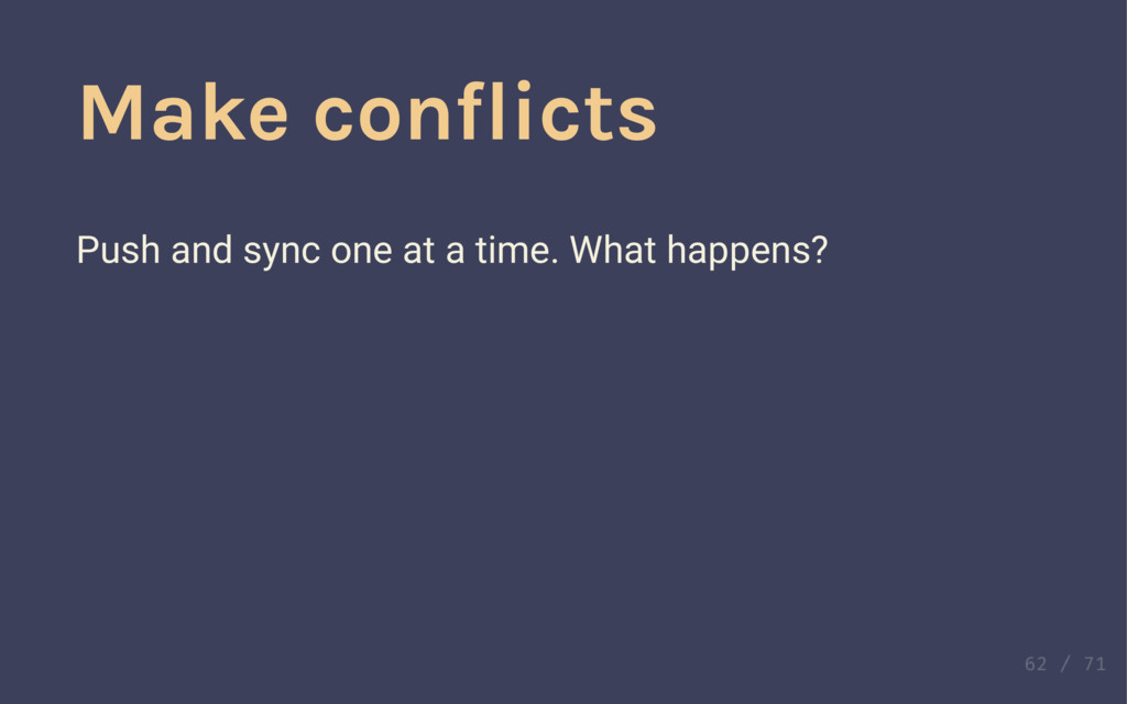 Make conflicts Make conflicts Push and sync one...