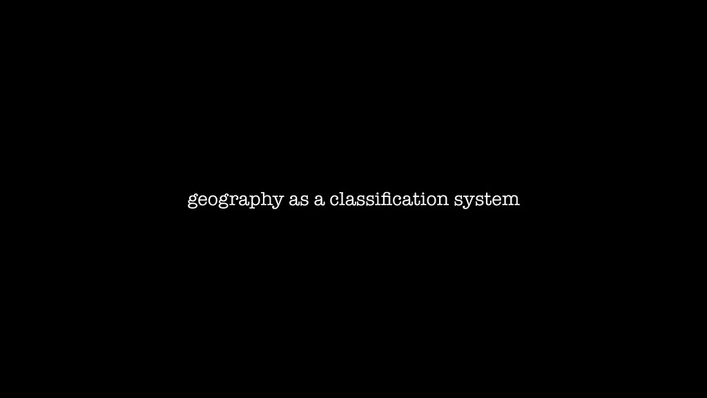 geography as a classification system