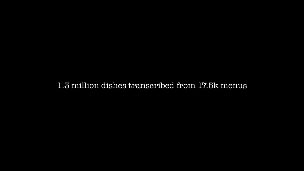 1.3 million dishes transcribed from 17.5k menus
