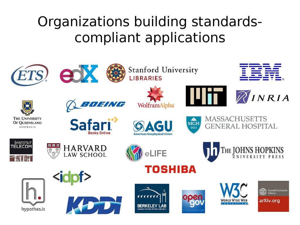 Organizations building standards- compliant app...