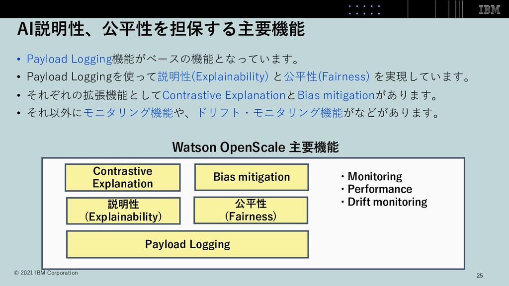 AI説明性、公平性を担保する主要機能 • Payload Logging機能がベースの機能とな...