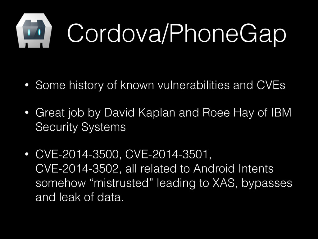 Cordova/PhoneGap • Some history of known vulner...
