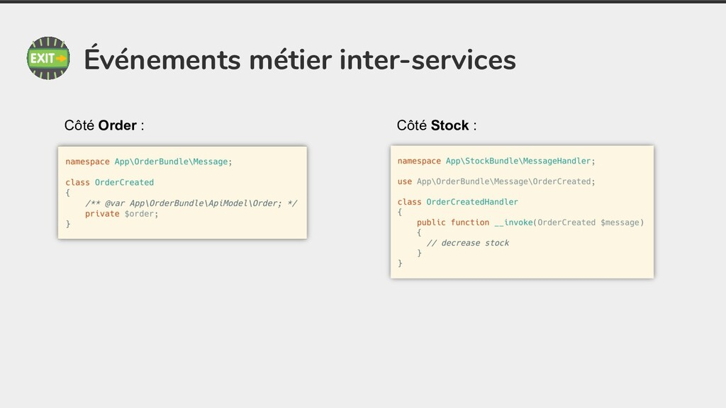 Événements métier inter-services Côté Order : C...