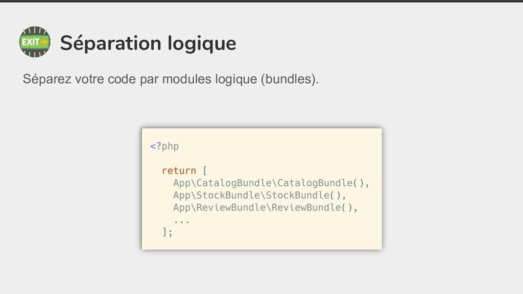 Séparation logique Séparez votre code par modul...