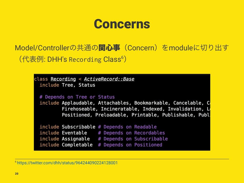 Concerns Model/Controllerͷڞ௨ͷؔ৺ʢConcernʣΛmodul...