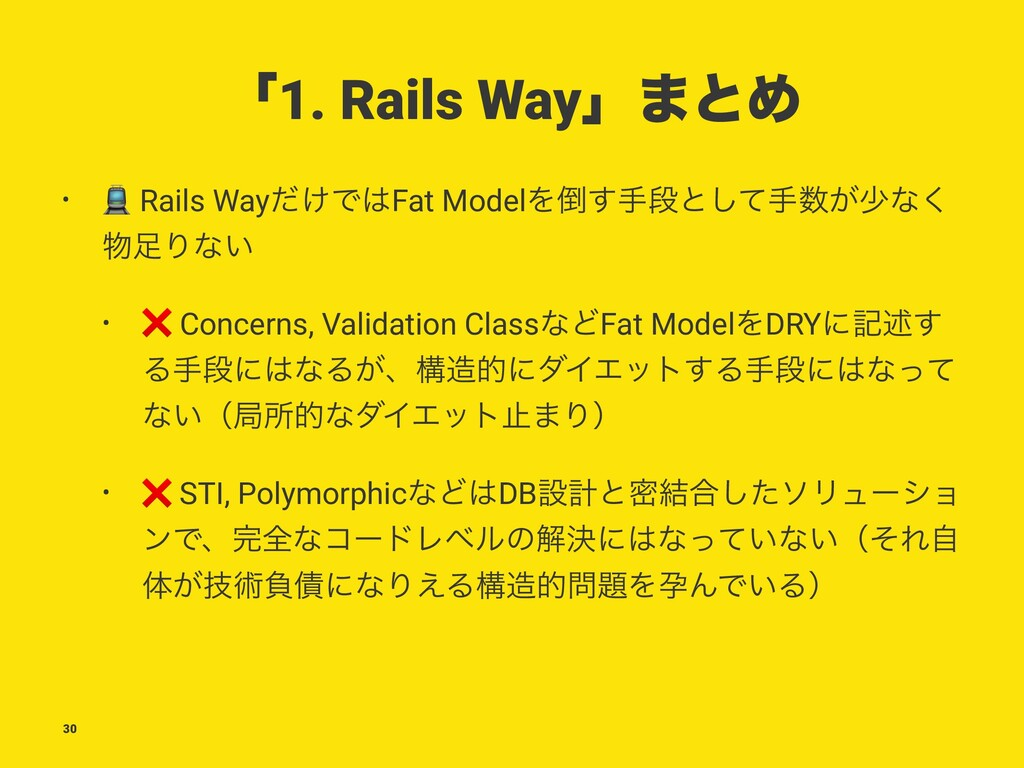 ʮ1. Rails Wayʯ·ͱΊ • ! Rails Way͚ͩͰFat ModelΛ͢...