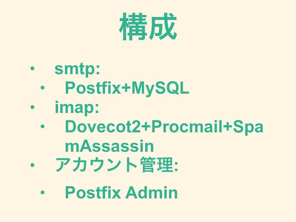 • smtp: • Postfix+MySQL • imap: • Dovecot2+Proc...
