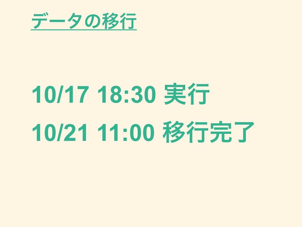 10/17 18:30 ࣮ߦ 10/21 11:00 Ҡߦྃ σʔλͷҠߦ