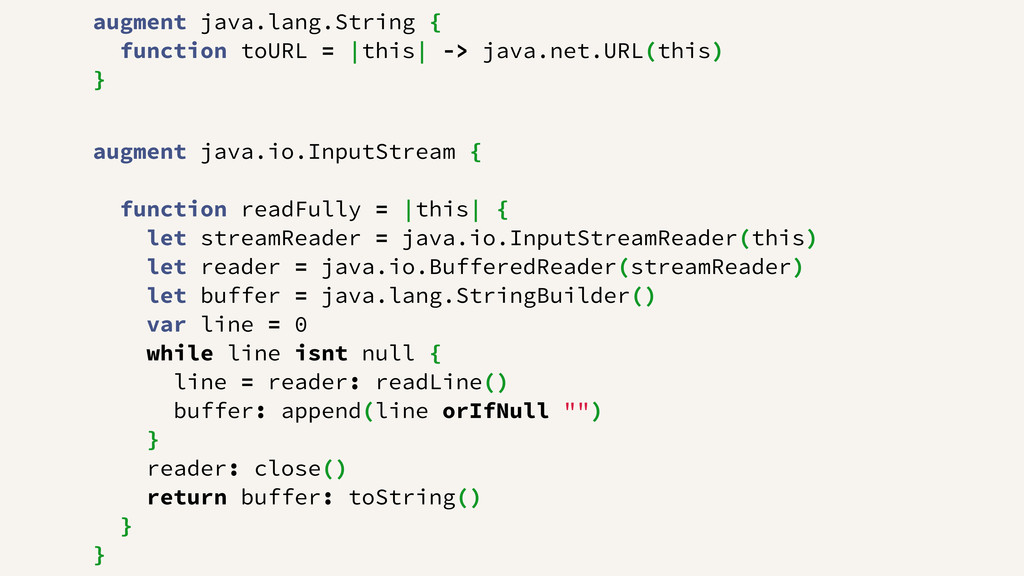 augment java.lang.String { function toURL = |th...