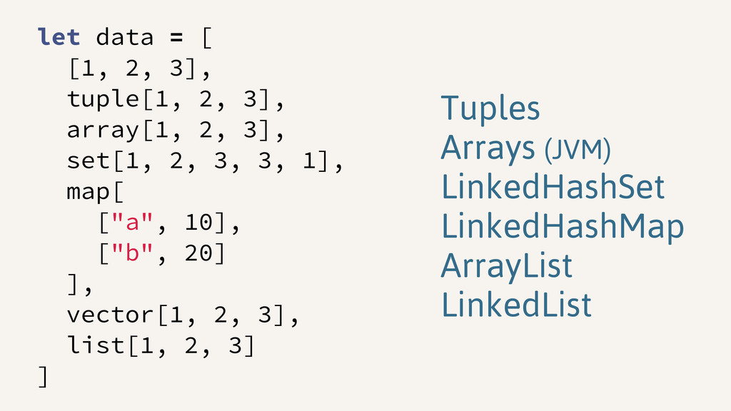 let data = [ [1, 2, 3], tuple[1, 2, 3], array[1...
