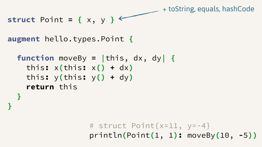 struct Point = { x, y } augment hello.types.Poi...