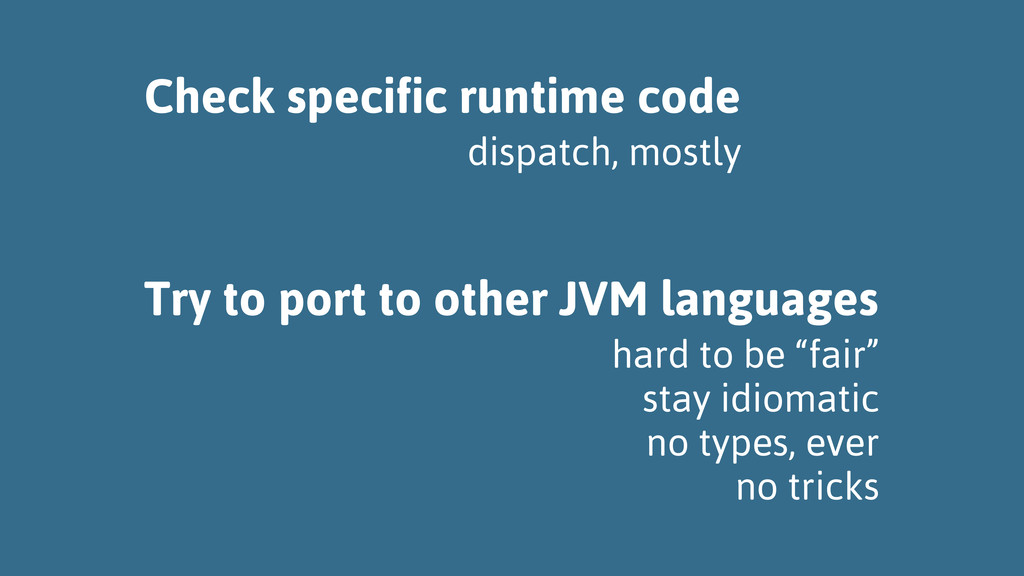 Check specific runtime code Try to port to othe...
