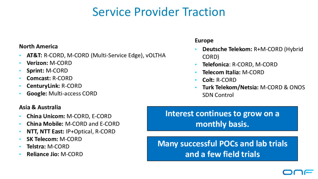 Service Provider Traction North America • AT&T:...