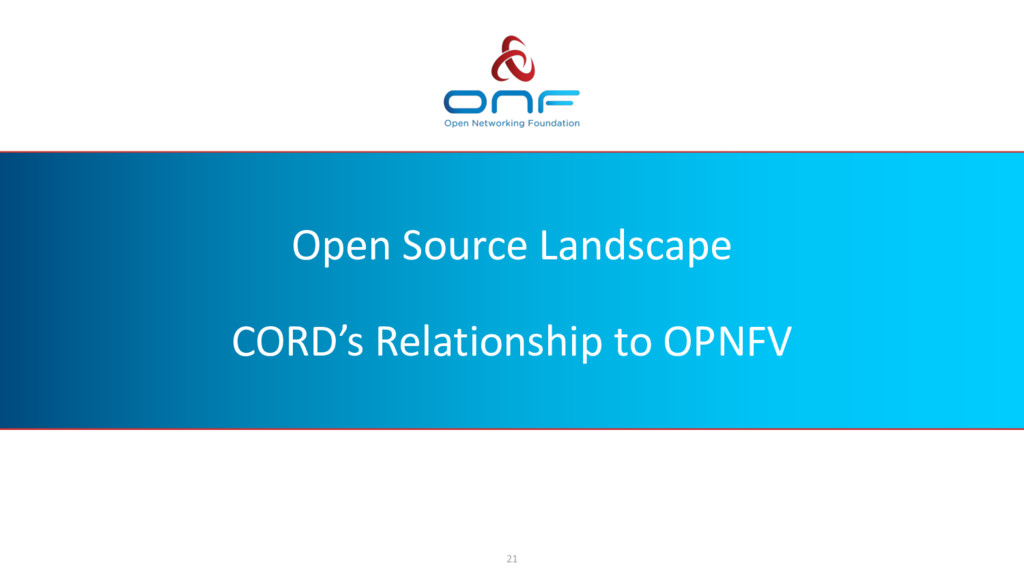 Open Source Landscape CORD's Relationship to OP...