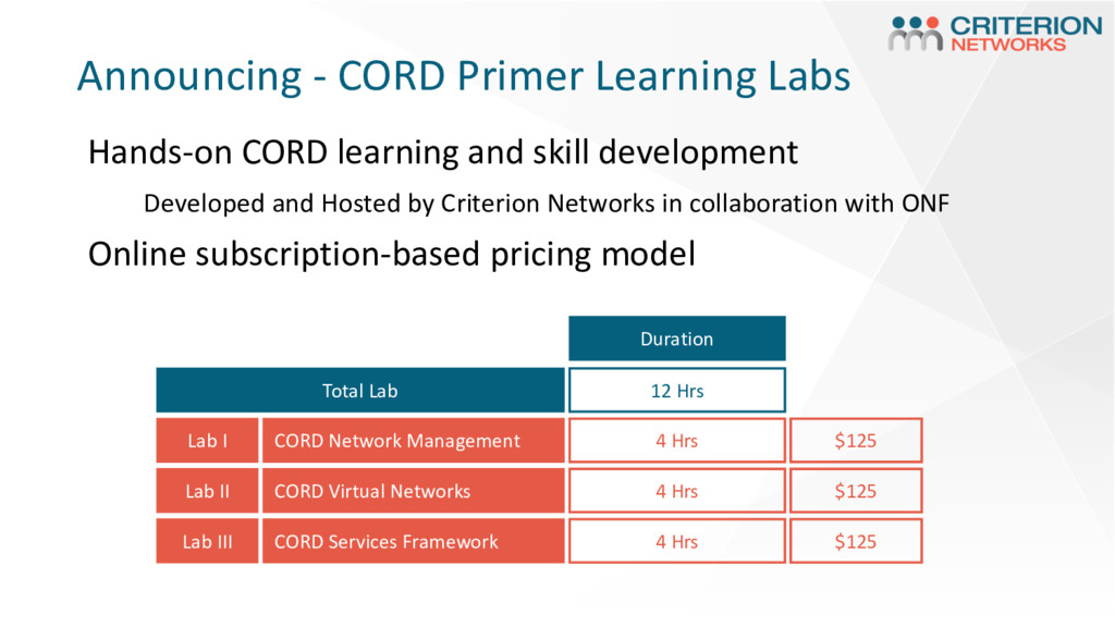 Announcing - CORD Primer Learning Labs Total La...