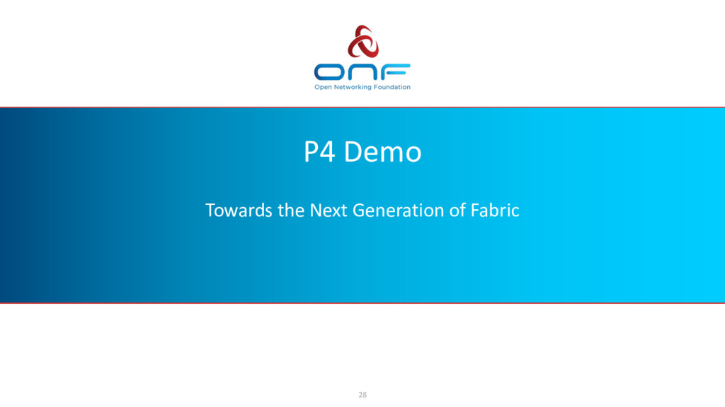 P4 Demo Towards the Next Generation of Fabric 28