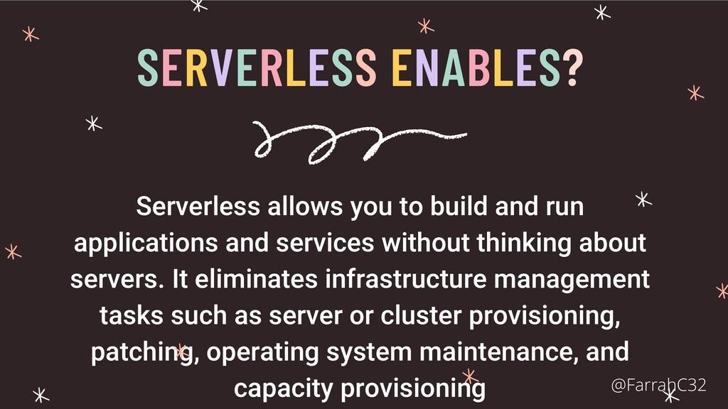 SERVERLESS ENABLES? Serverless allows you to bu...