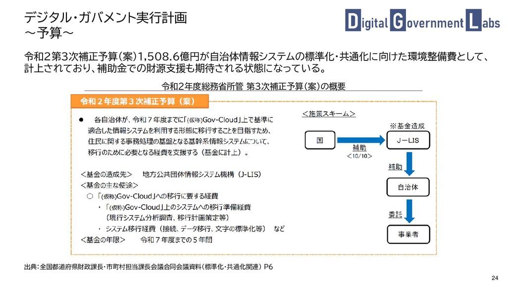 24 デジタル・ガバメント実行計画 ~予算~ 令和2第3次補正予算(案)1,508.6億円が自...