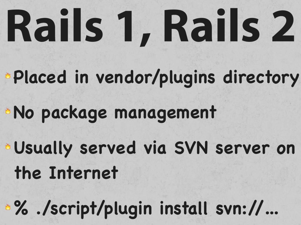 Rails 1, Rails 2  Placed in vendor/plugins dire...