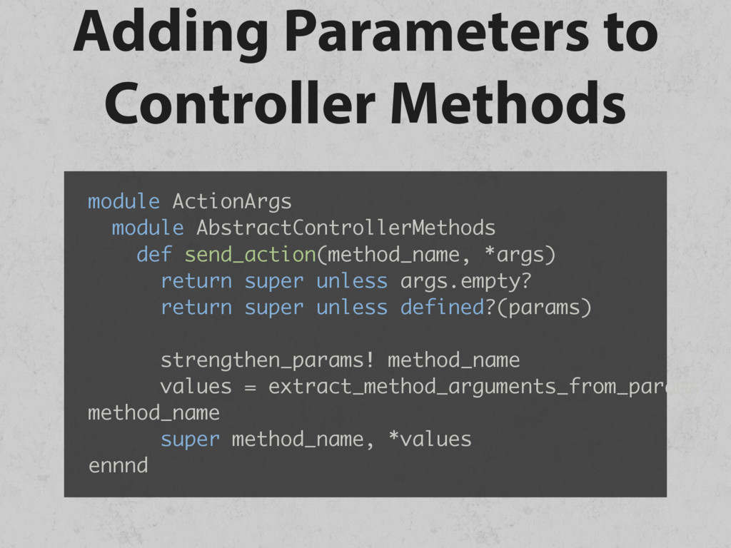 Adding Parameters to Controller Methods module ...