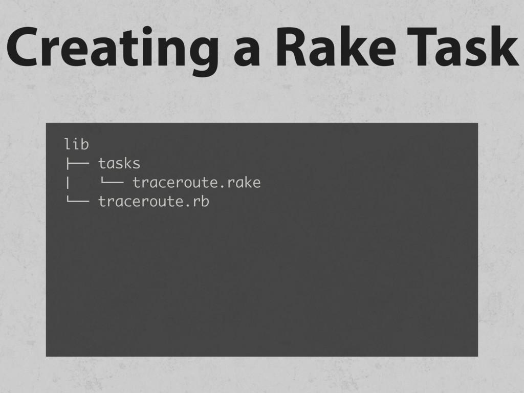 "Creating a Rake Task lib !"""" tasks # %"""" tracer..."