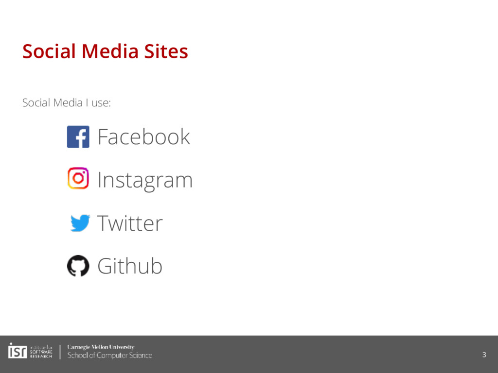 Social Media Sites Social Media I use: Facebook...
