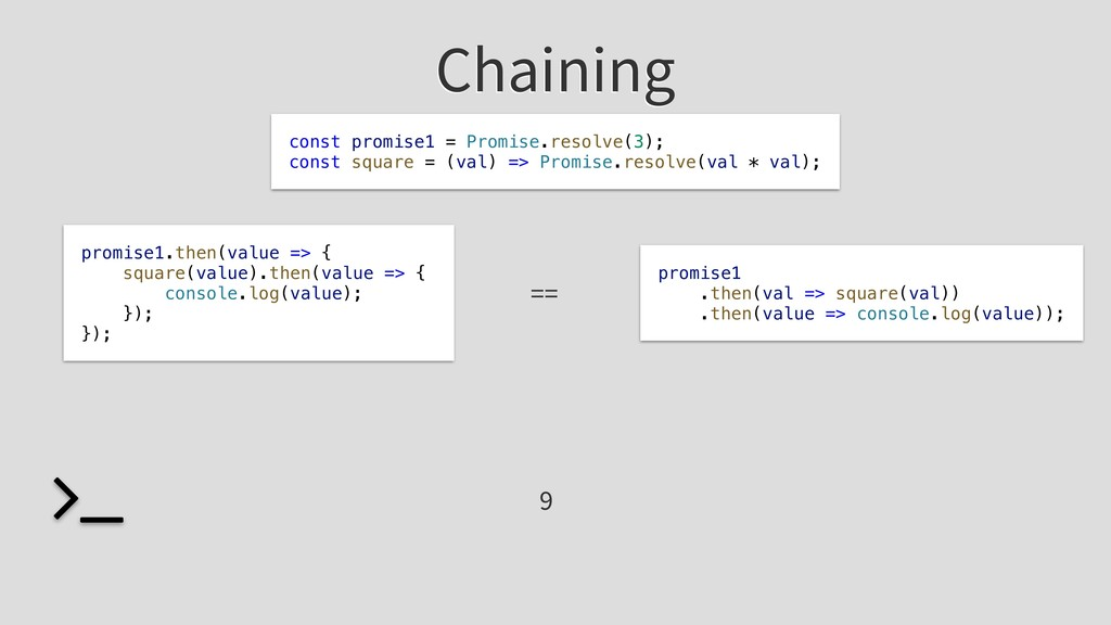 Chaining promise1 .then(val => square(val)) .th...