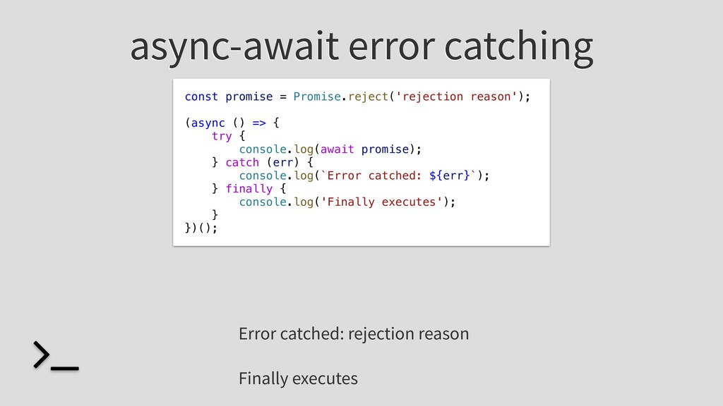 async-await error catching const promise = Prom...