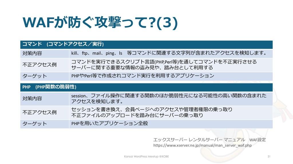 WAFが防ぐ攻撃って?(3) コマンド (コマンドアクセス/実行) 対策内容 kill、ftp...