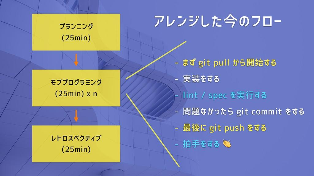 プランニング (25min) レトロスペクティブ (25min) モブプログラミング (25m...