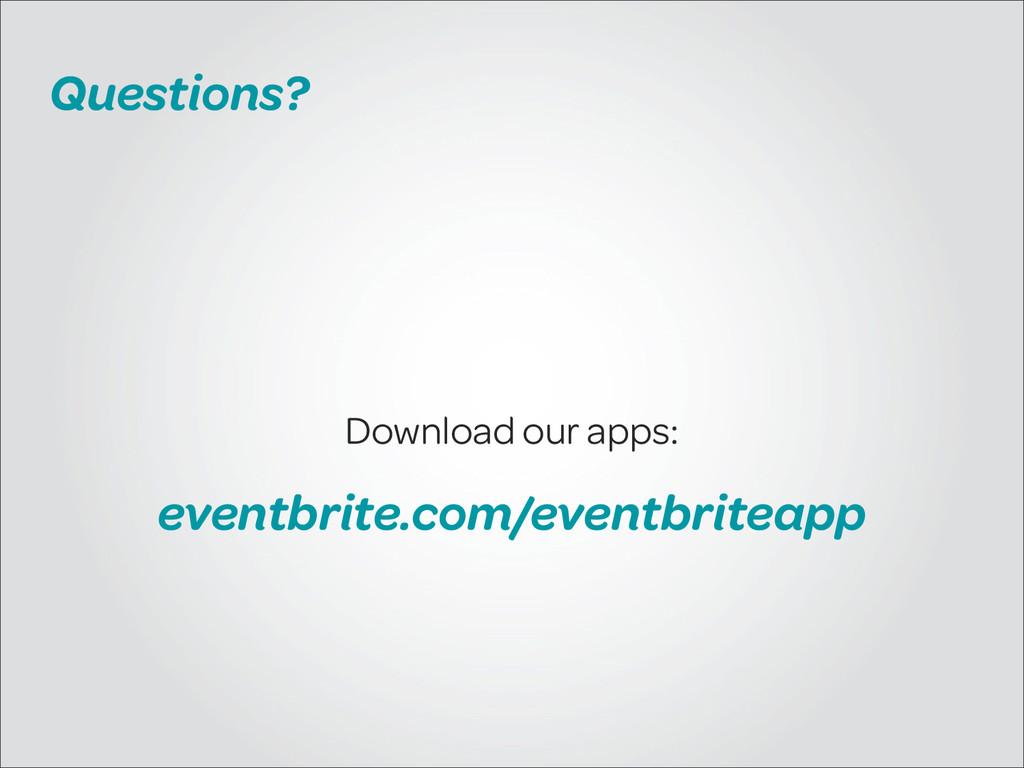 Questions? Download our apps: eventbrite.com/ev...