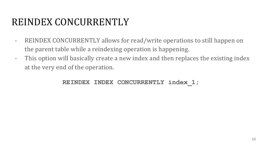 REINDEX CONCURRENTLY - REINDEX CONCURRENTLY all...